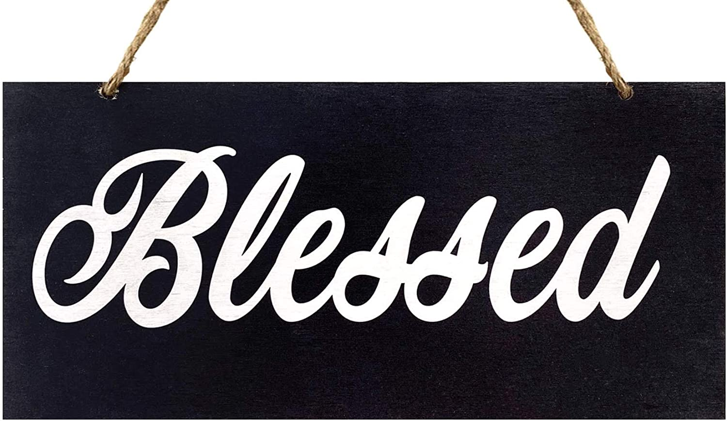 JennyGems   Blessed Wood Script Sign   Scripted Word Art   Statement Piece for Interior Decorating   Home Decor and Design   Home Trends   Inspirational Wood Signs   Made in USA (Black)