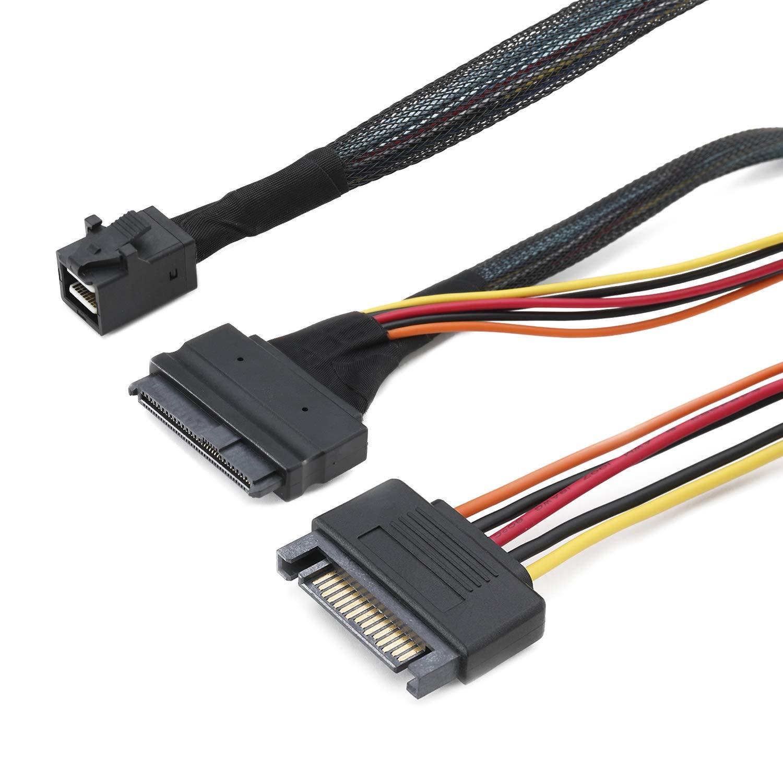 Mini SAS SFF 8643 /à 8639 avec Alimentation SATA /à 15 Broches CableDeconn 0.5M Mini SAS C/âble Interne HD 8643