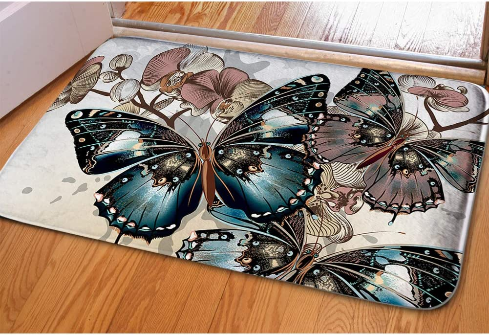 Beauty Collector Butterfly Welcome Mat Bathroom Rug Kitchen Floor Mat for Holiday Non Slip Flannel Soft Area Rugs