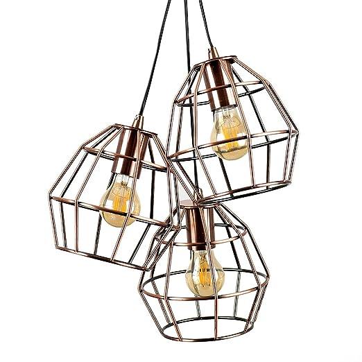 MiniSun - Lámpara de techo vintage con forma de jaula y 3 focos ...