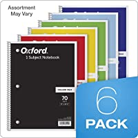 """TOPS/Oxford 1-Subject Notebooks, 8"""" x 10-1/2"""", College Rule, 70 Sheets, 6 Pack, Color Assortment May Vary(1 Pack) (65007)"""