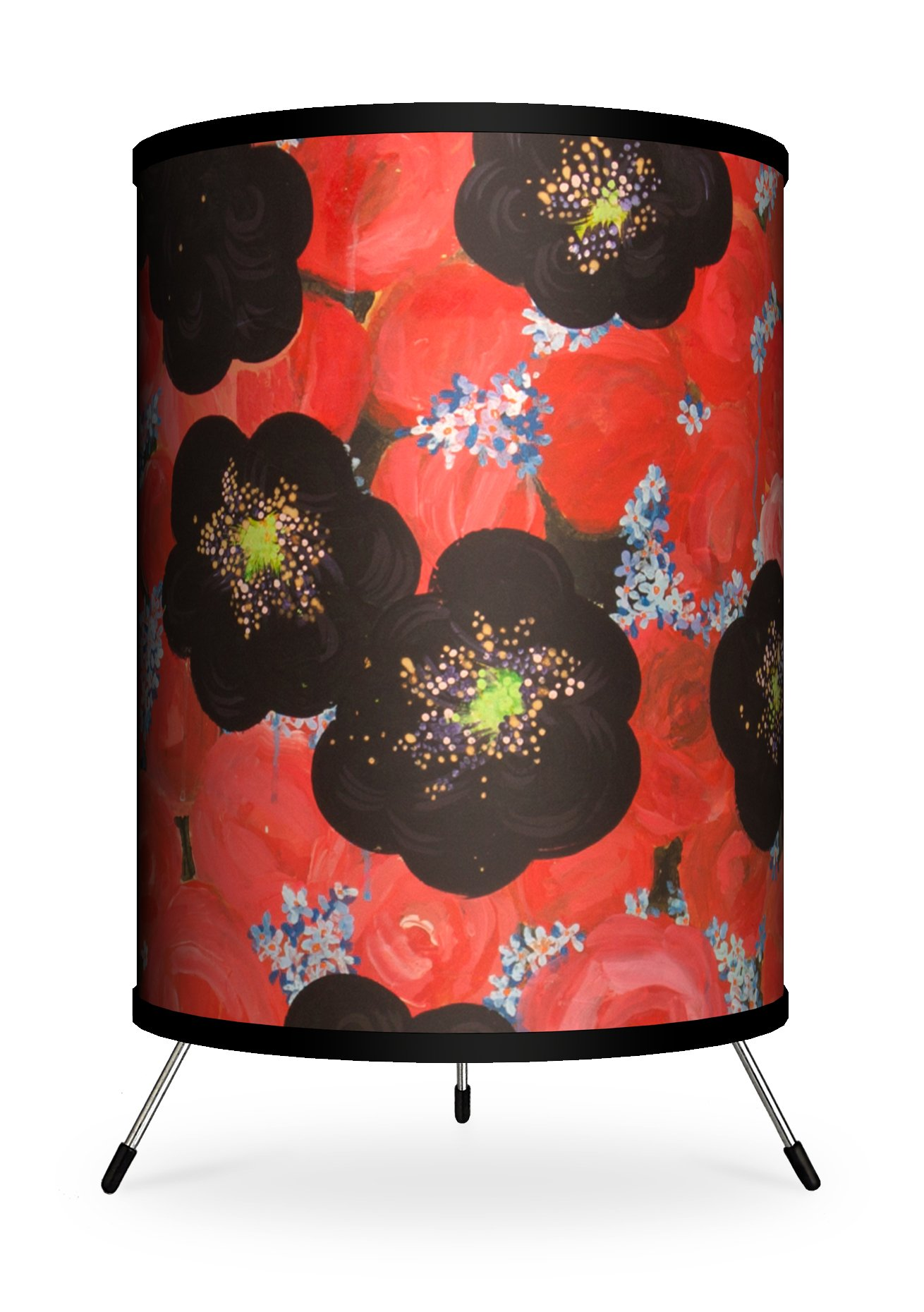 Lamp-In-A-Box TRI-FAR-AGFLO Feature Artist Alexandra Jurassic Flower Field Rose Tripod Lamp