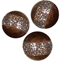 Creative Scents Schonwerk Walnut Decorative Orbs for Bowls and Vases (Set of 3) Resin Sphere Balls | Dining/Coffee Table Centerpiece | Great Gift Idea (Crackled Mosaic)