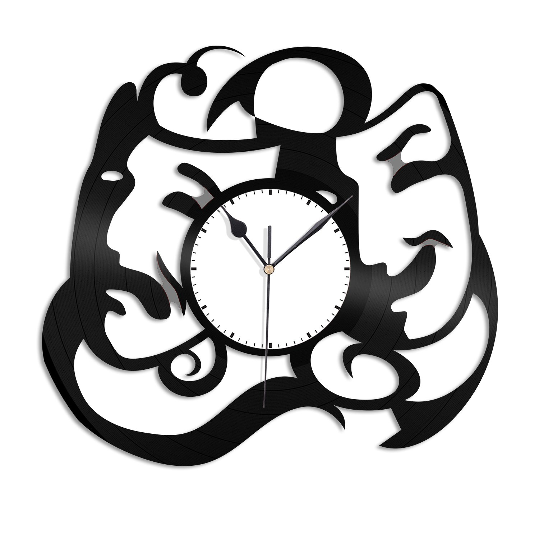 VinylShopUS - Theatre Mask Vinyl Wall Clock Record Decorative Unique Gift Bedroom Decor | Unique Gift for Anniversary | Home Decoration Decor