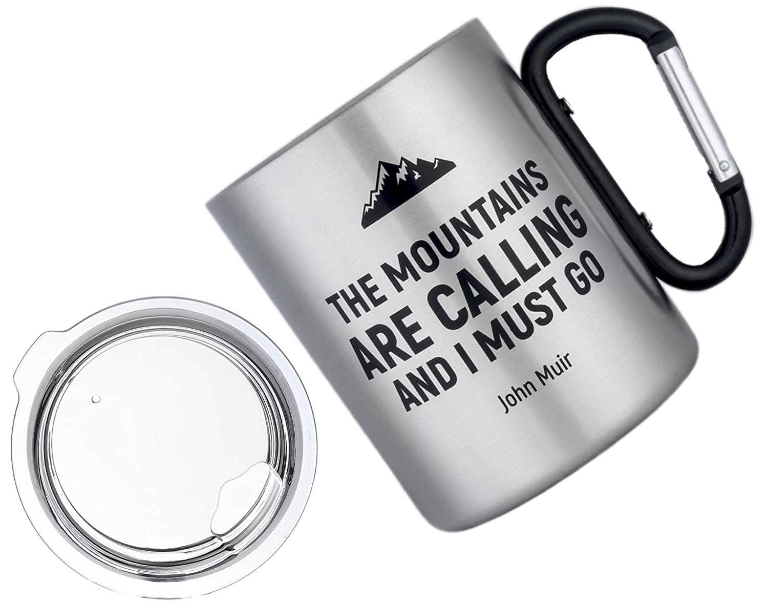 MaxmilesプレミアムLarge InsulatedキャンプMug with Carabinerハンドル – 軽量double-thermalステンレスSteel Cup with Lid for旅行ハイキングキャンプ – 12oz 350 ml  Mountains Lid B07FVLC6VX