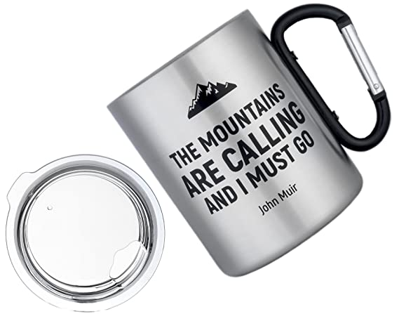 e3ca993636ad MaxMiles Premium Large Insulated Camping Mug with Carabiner Handle -  Lightweight Double-Thermal Stainless Steel Cup with Lid for Travel Hiking  Camping ...