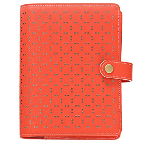 Labons 6 Round Ring A6 Red Binder Button Hollow Filofax Planner with 2018 2019 2020 Calendar/Monthly Weekly Daily Schedule/Telephone & ...