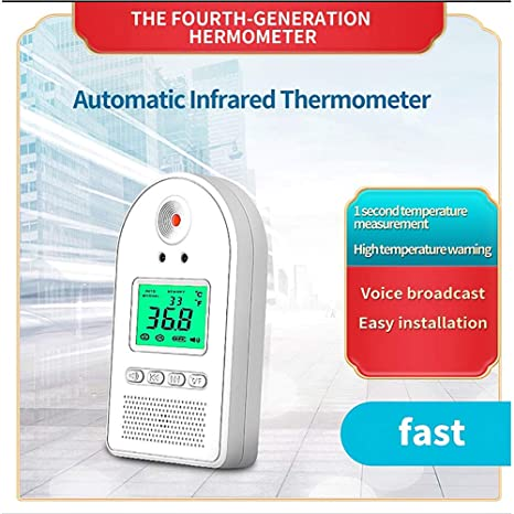 Non-Contact Body Thermometer Industrial Automatic 1 Seconds Instantaneous Detection Intelligent High Temperature Alarm Olemon Wall-Mounted Infrared Thermometer