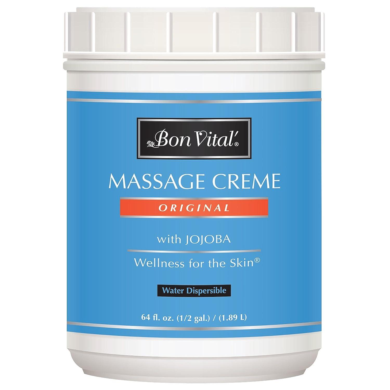 Bon Vital Crema de masaje multiusos para terapeutas de masaje y masajes en casa, crema de masaje de doble uso para teñidos profundos a técnicas de alto deslizamiento, mejora el tono y