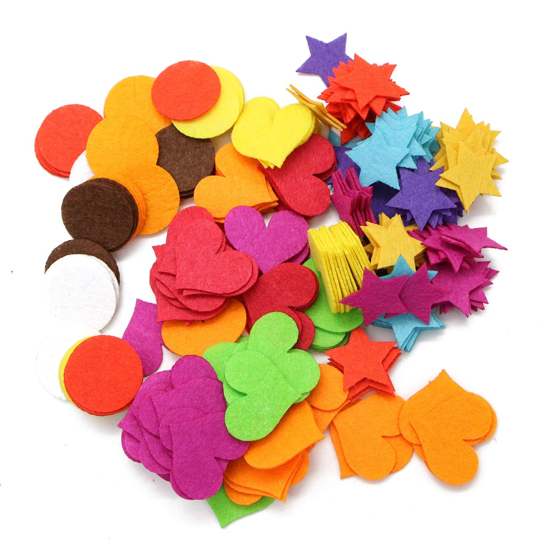 Assorted Colors Mini Felt Circle//Heart//Star Laser Cutout Scrapbooking Embellishment Monrocco 300 PCS Felt Embellishments