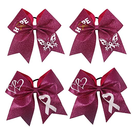 7 inch Large Cheer Hair Bows Ponytail Holder Handmade for Teen Girls  Softball Cheerleader Sports For Breast Cancer Month c8f413b399b