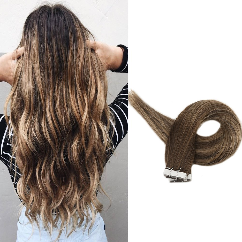 Full Shine 16 inch Skin Weft Professional Hair Extensions Ombre Balayage Color#3 Fading to #24 Blonde Ombre Hair With Color #3 Highlighted Throghout Tape in Ombre Extensions 20 Pcs 50 grams