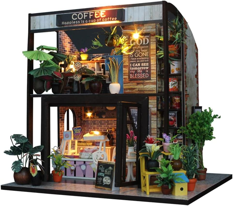 courti Casas de Munecas Miniaturas, 3D Mini Realista Cabaña Artesanal con Luces LED Cafe DIY Casa De Madera Artesanal con Muebles Regalo De Cumpleaños para Niños