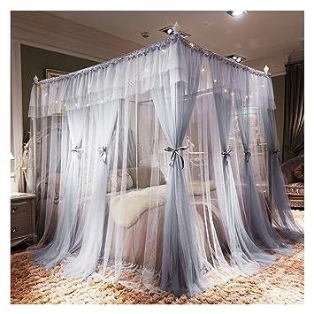 DUXY Moustiquaire de lit, Luxe 4 Coins Princesse Lit Rideau Canopy ...