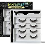 Lanflower Natural Eyelashes with Eyeliner, Waterproof and Smudge-proof Liquid Eyeliner Kit, Glue Free No Magnetic…