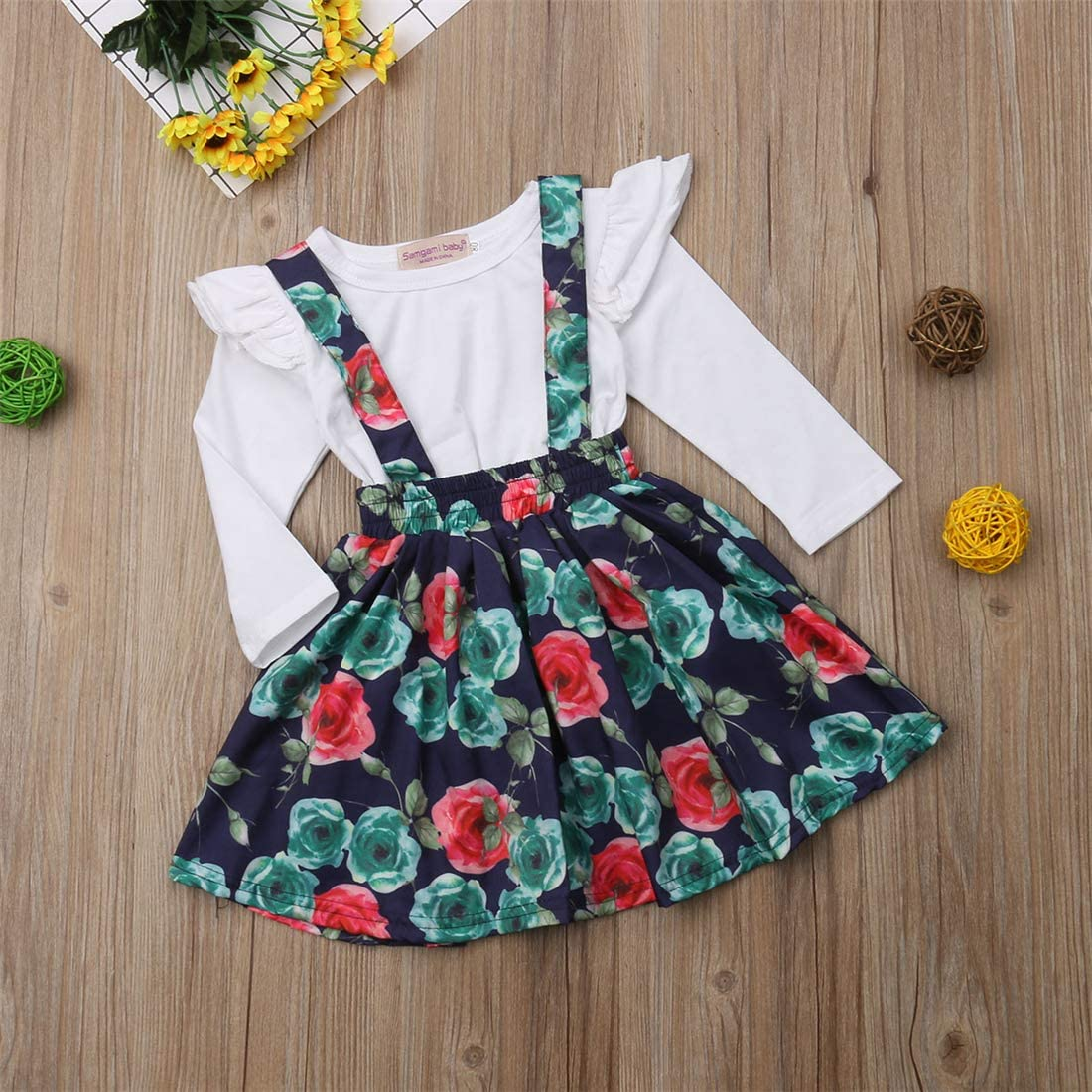 1-6 Year Infant Toddler Baby Girls Floral Print Dress 2 Pc Clothes Outfit Set Longsleeve White Top Shirt Navy Strap Dress