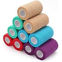 LotFancy zelfklevende bandage dierenarts wrap verschillende kleuren cohesieve bandage wrap voor huisdier, hond, paard…