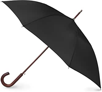 totes Totes Auto Open Wooden Handle J Stick Umbrella, Black (Black) - 9302