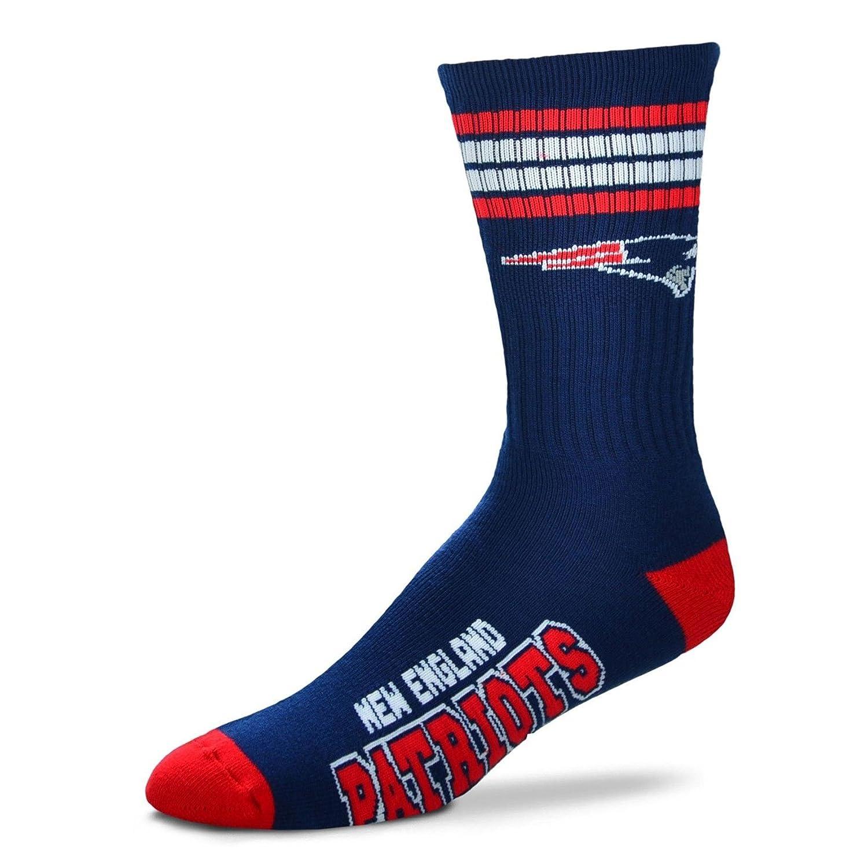 NFL 4 Stripe Deuce Crew Socks Mens-New England Patriots-Size Large 10-13
