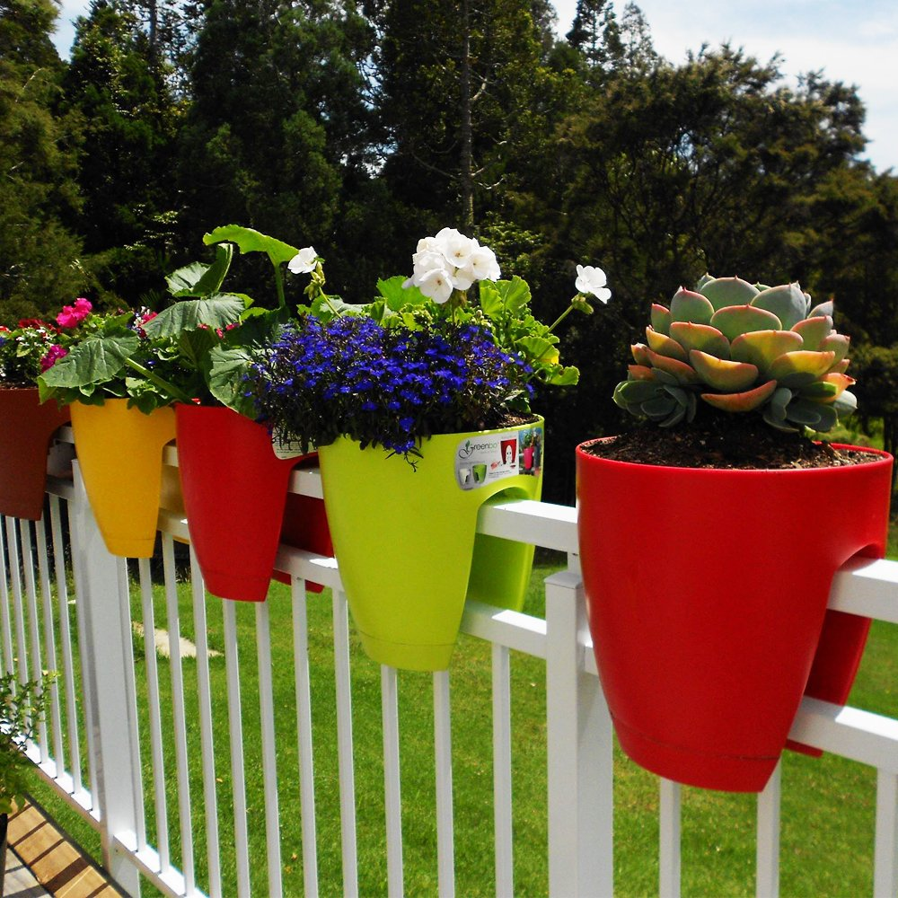 Greenbo Deck Rail Planter Box with Drainage trays, round 12-Inch, Color Red- Set of 2 by Greenbo (Image #5)