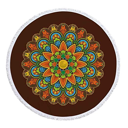 Toalla De Playa Mandala, Microfibra Redonda con Borlas ...