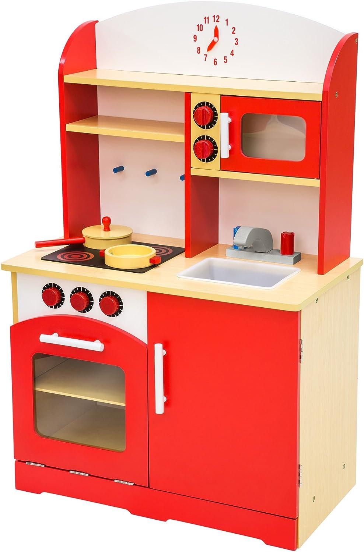TecTake Cocina de madera de juguete para niños juguete juego de rol toy - varios modelos - (rojo | no. 401235)