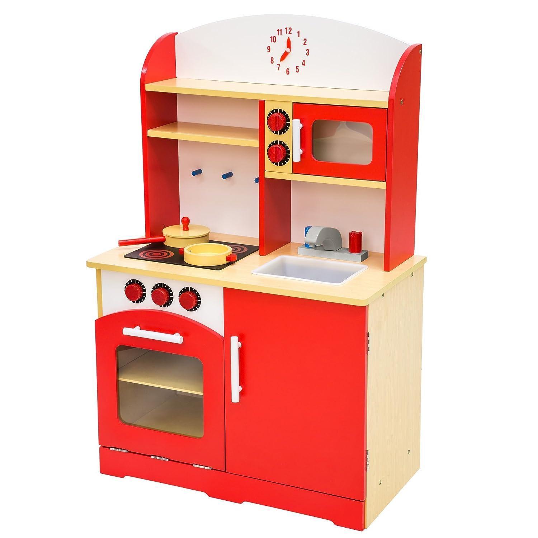 TecTake Wooden childrens kitchen cooking toys learner set orange 800109