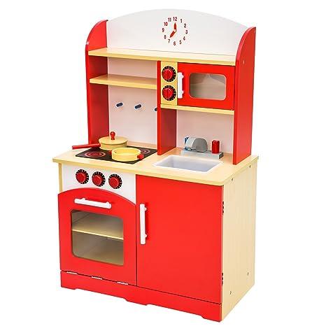 tectake cucina per bambini gioco giocattolo in legno disponibile in diversi colori rosso
