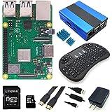Raspberry Pi 3 Model B+本体+5V/2.5A USB電源アダプター+合金ケース+HDMIカーブル+Bluetoothキーボード +16GB microSDカード+スイッチ付きケーブル+ヒートシンク8点セット