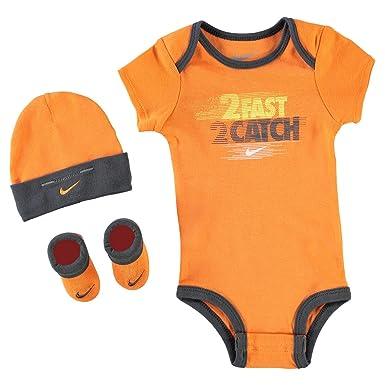 8b6af9067 Nike Age Newborn 0-6 Months 3 Piece Infant Baby Boys Set Hat Sports Beanie  Bootie Shoes Romper Royal Orange/Grey: Amazon.co.uk: Clothing