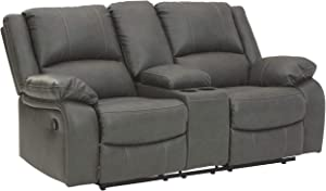 Signature Design by Ashley - Calderwell Contemporary Faux Leather Double Reclining Loveseat w/ Console - Adjustable - Gray