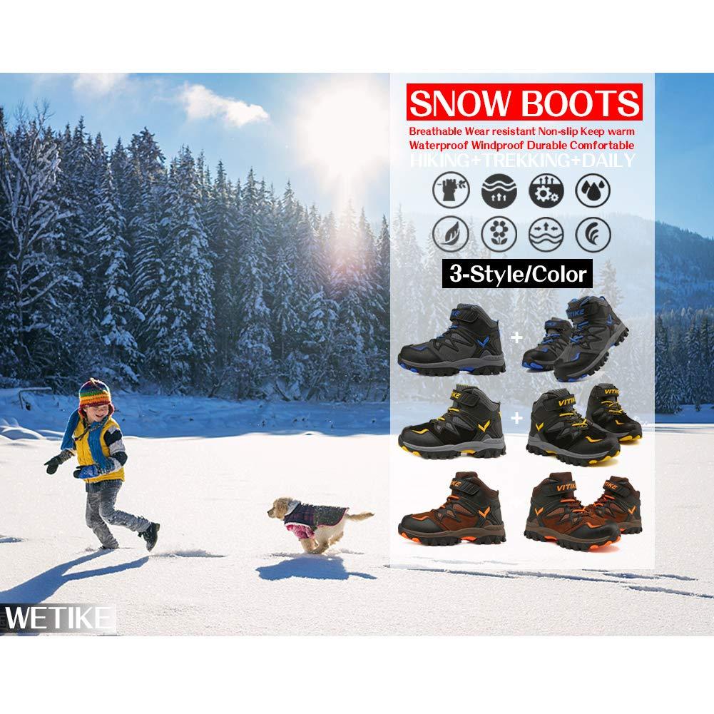 Boots Boys Winter Snow Sneakers Girls Hiking Trekking Outdoor Shoes Youth Big Little Kids Waterproof Non-Slip Steel Buckle by WETIKE (Image #3)