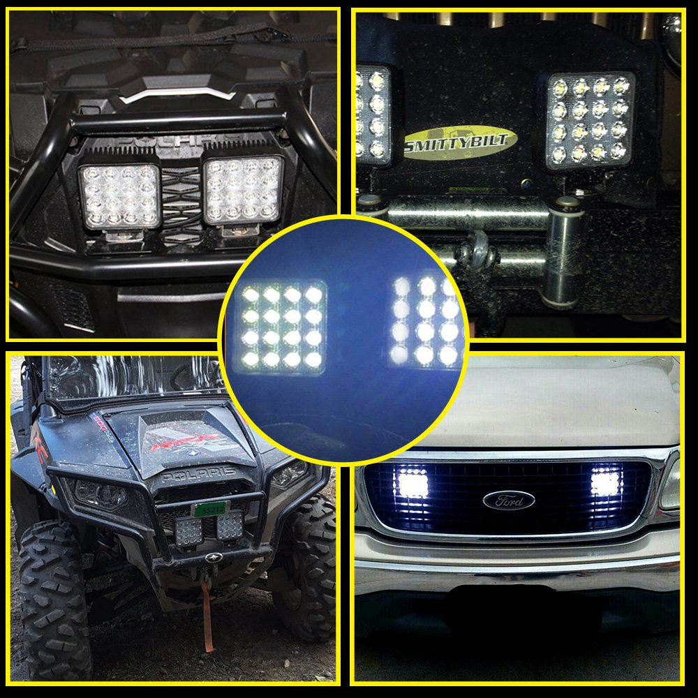 TURBO SII 4Pcs 4 LED Light Bar 48W Cube Work Pods Spot Beam Driving Fog Backup Light Lower Grill Rear Fender Fit Jeep Wrangler Trucks ATV UTV 4WD Off Road Boat Kawasaki pro fxt/ Kubota Tractor