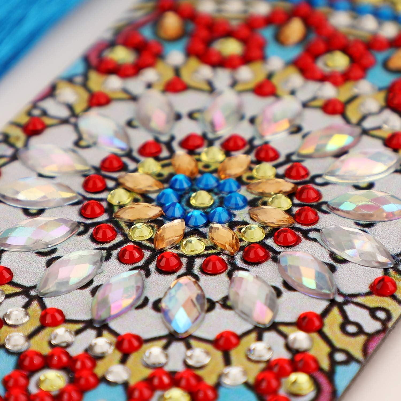 Kit Segnalibro in pelle Pittura Diamante Fai Da Te con Nappa 5D Diamond Painting 2 Pezzi Dipingi per Numero Kit -Mandala VETPW Segnalibro Pittura Diamante DIY
