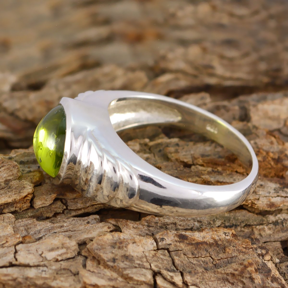 jents Jewelry Items Gift for mom raw Stone Ring 925 Silver Green Peridot Nice Gemstone Ring Nice Gemstone Round cabochon Peridot Rings