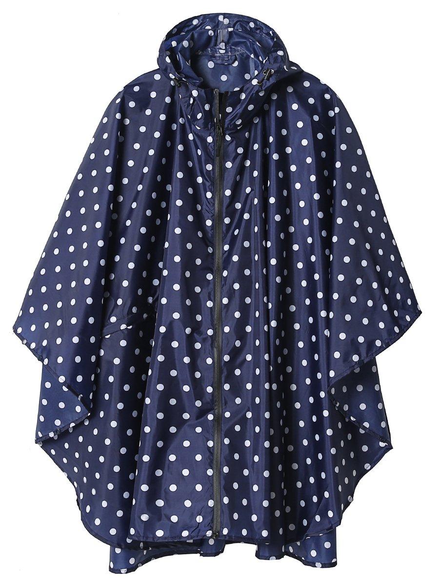 LINENLUX Stylish Unisex Hooded Waterproof Raincoat with Zipper Outdoor Windbreak Rain Jacket Bike Poncho Point Cloak
