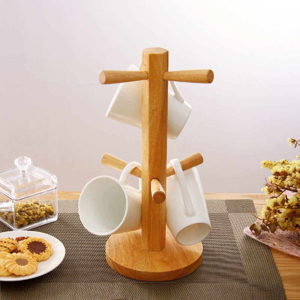 TY&WJ Bamboo mug tree rack stand with 6 storage hooks, Hold and dry large coffee mugs or cups-A