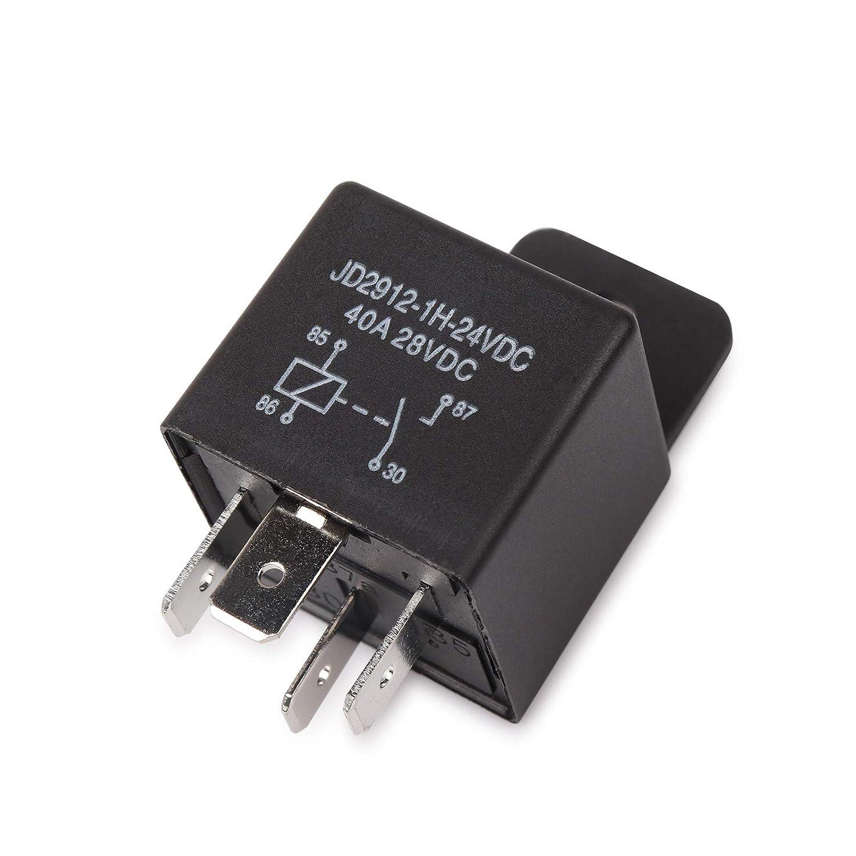 Mod/èle No .: JD2912-1H-12VDC 40A 14VDC Relais Ehdis/® voiture 4-Pin 40 Amp/ères Spst 12v Auto Commutateurs et d/émarreurs 2 Pack