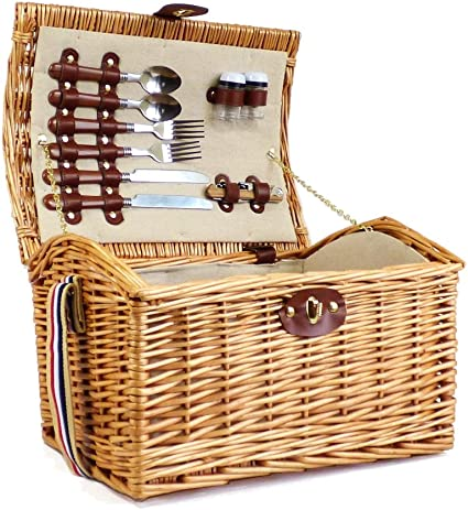 2 Person Hampton Wicker Picnic Basket With Accessories Gift Ideas For Mum Valentines Mothers Day Birthday Wedding Anniversary Business And Corporate Amazon Co Uk Kitchen Home