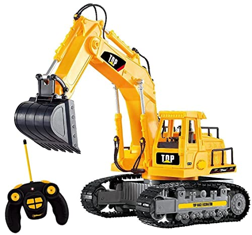 Top Race® 7 Channel Full Functional RC Excavator, Battery Powered Electric RC Remote Control Construction Tractor With Lights & Sound (TR-111)