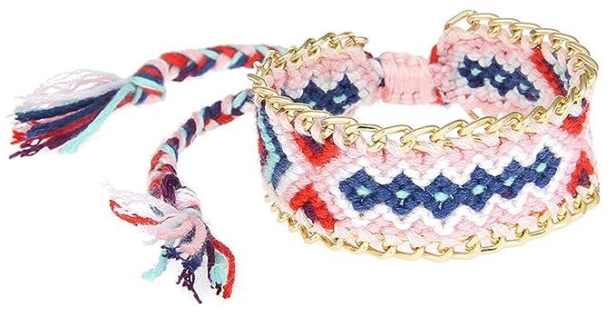 EOZY Bracelet Tressé Brésilien Femme Bracelet Large Brésilien Fille  Réglable 10 Amazon.fr Vêtements et accessoires