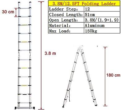 Escalera telescópica multiusos de aluminio de 3,8 m, portátil, extensible, con marco en A, escalera resistente, para interiores y exteriores, oficina, casa, máx. 150 kg, 12 peldaños: Amazon.es: Bricolaje y herramientas