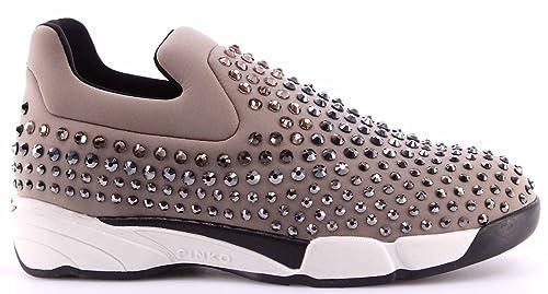 Scarpe Donna Sneakers PINKO Neoprene Strass Slip On Grey Grigio Shine Baby  Nuove 6865abe546e