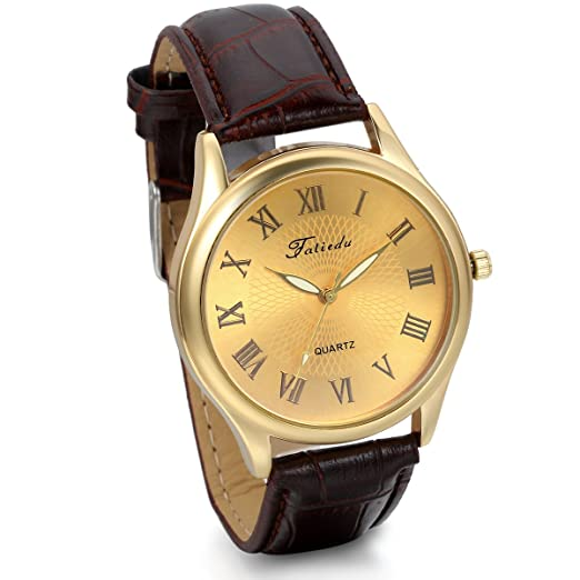JewelryWe Mens Boyfriends Quartz Golden Dial Wristwatch Leather Strap Dress Watch (Brown)