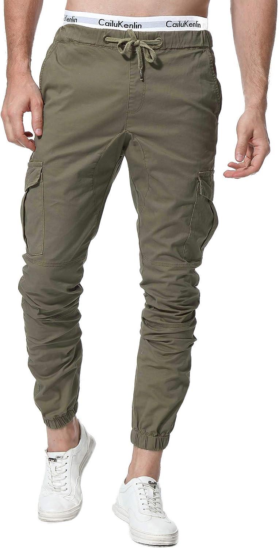 ZOEREA Pantalones Hombre Casuales Deporte Elásticos Joggers Largos Pants con Bolsillos Algodón Slim Fit Cargo Trouser de Hombres