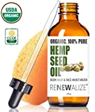 CERTIFIED ORGANIC HEMP SEED OIL - Facial Body Moisturizer in LARGE 4 OZ. Dark Glass Bottle | 100 Pure Cold Pressed and Unrefined | Best Daily , Night time , Skin Regimen for Acne Pimple Prone Skin