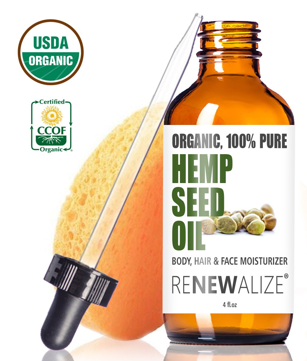Renewalize Certified Organic Hemp Seed Cleansing Oil   Face Cleanser And Moisturizer | 100 Percents Pure Cold Pressed And Unrefined | Best Daily, Night Time, Facial Regimen For Acne Pimple Prone Skin 4oz by Renewalize