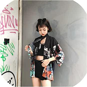 Kimono japonés para Mujer Cosplay Yukata Mujer OBI Japonés Streetwear Haori Ff1126K - - Talla única: Amazon.es: Ropa y accesorios