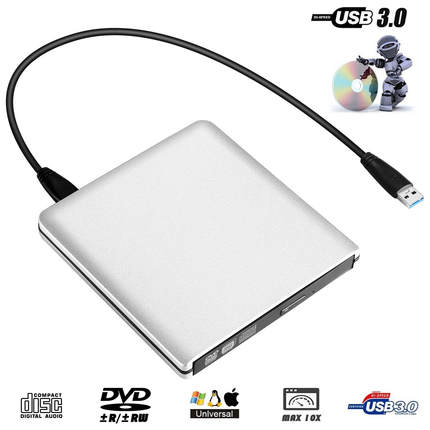 iStrong External USB 3.0 Portable DVD CD Drive Burner Ultra Slim Optical Drive CD - RW DVD - RW Superdrive for Mac MacBook Pro Laptop Notebook Desktop Silvery