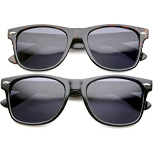 db3ab6982a18 zeroUV - Retro 80 s Classic Colored Mirror Lens Square Horn Rimmed  Sunglasses for Men Women